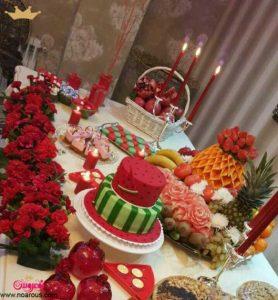 سفره شب یلدا با کیک هندوانهای
