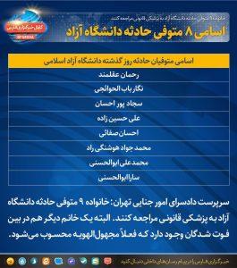 اسامی دانشجویان فوتی دانشگاه ازاد