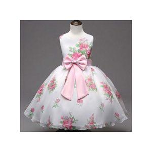 لباس دخترانه مجلسی با گل های صورتی