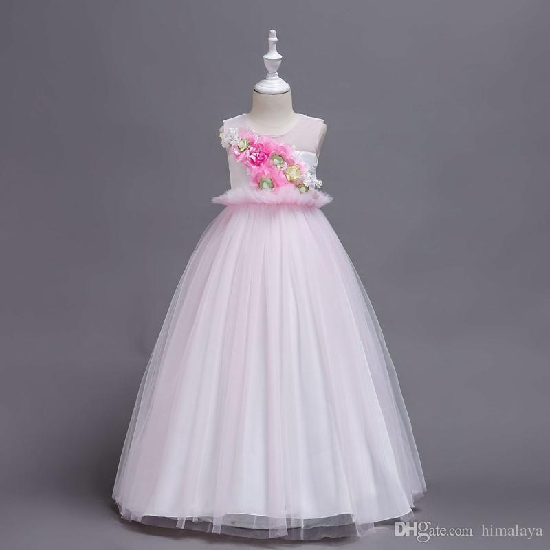 لباس مجلسی دخترانه سفید با طرح گل