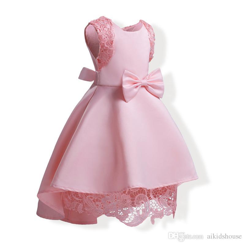 لباس مجلسی دخترانه صورتی با طرح گل روی شانه