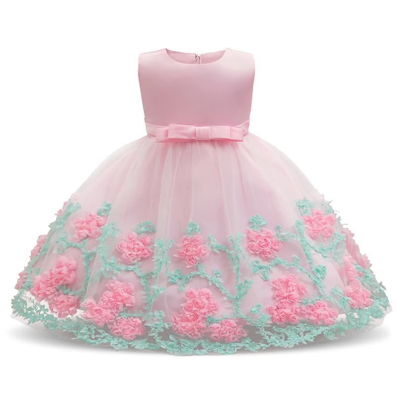 لباس جشن تولد دخترانه صورتی گلدار